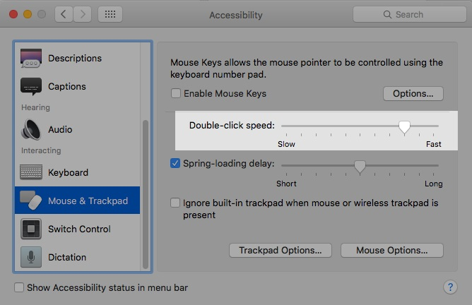 Adjust the slider next to 'Double-click speed' to make it faster or slower as per your need.