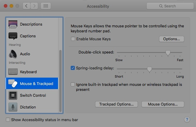 Select 'Mouse & Trackpad' from all the options.